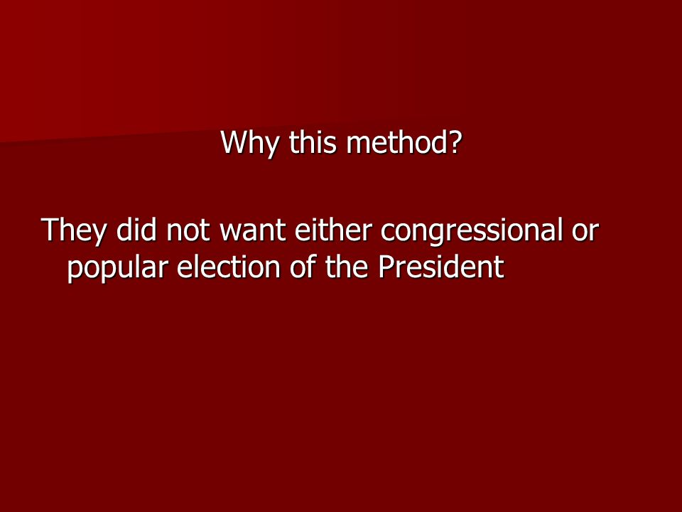 Why this method They did not want either congressional or popular election of the President
