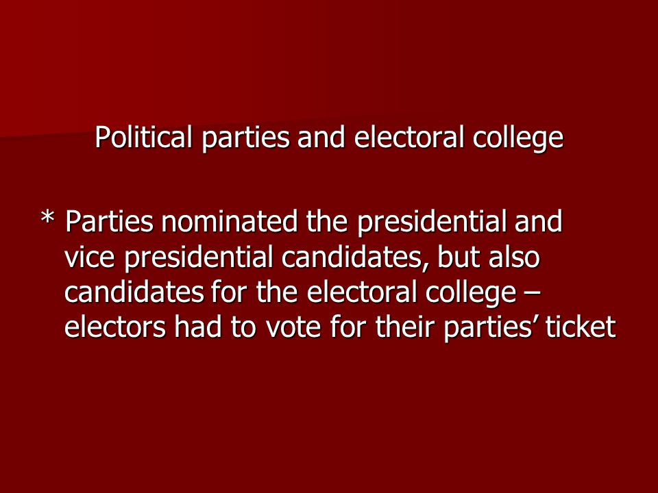 Political parties and electoral college