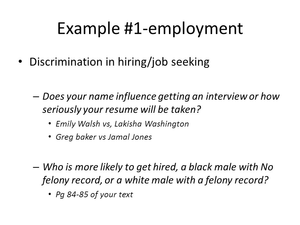 example 1 employment discrimination in hiringjob seeking - Resume Discrimination