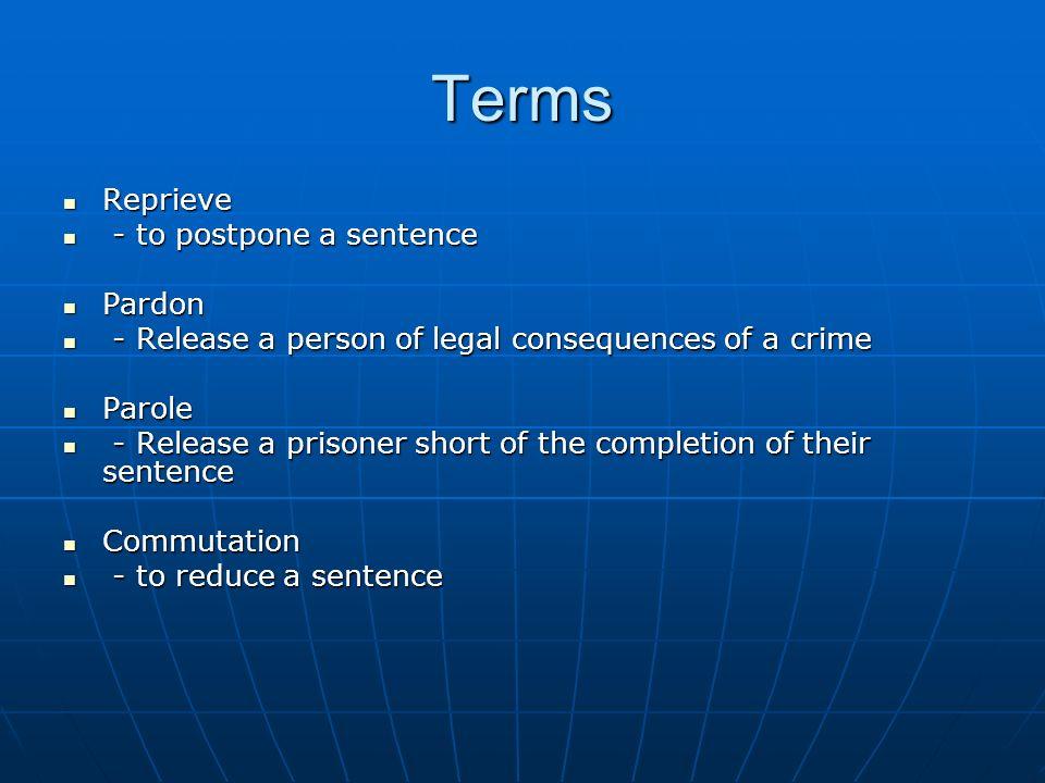 Terms Reprieve - to postpone a sentence Pardon