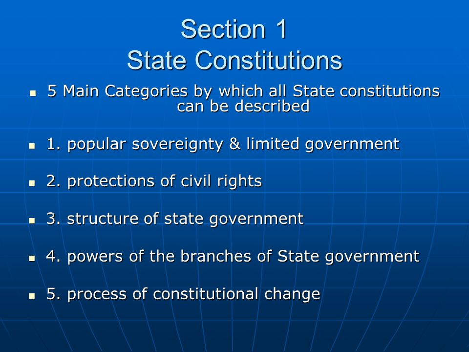 Section 1 State Constitutions