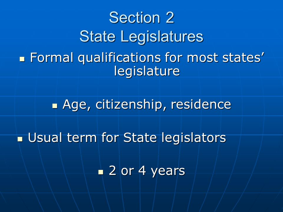 Section 2 State Legislatures