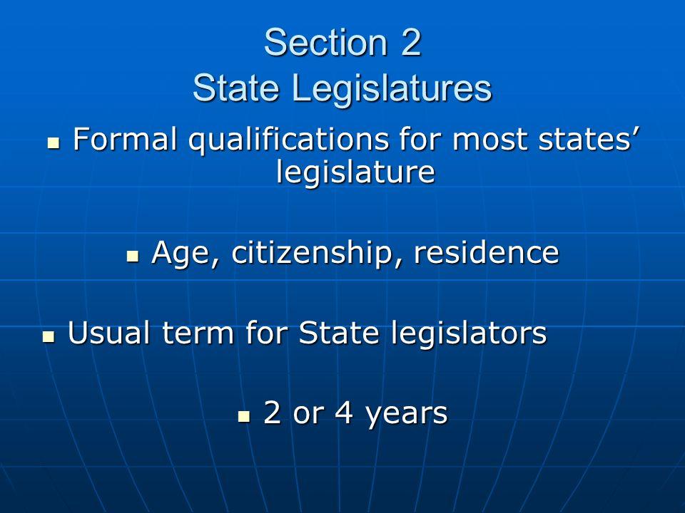 Section 2 State Legislatures