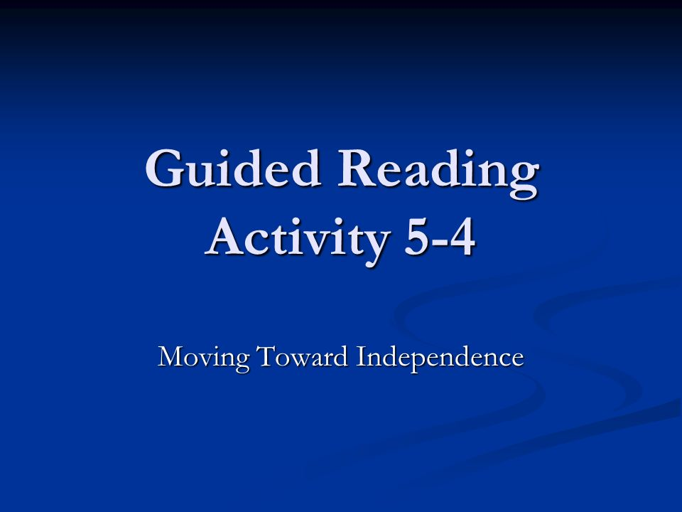 Guided Reading Activity 5-4