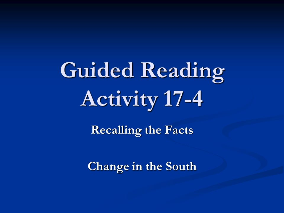 Guided Reading Activity 17-4