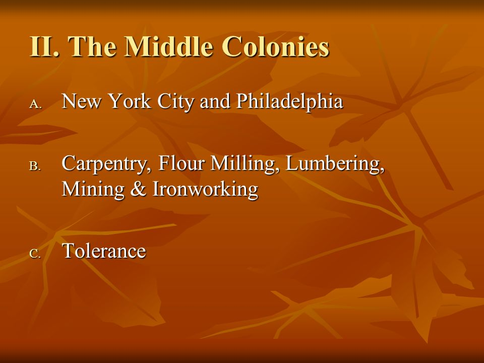 II. The Middle Colonies New York City and Philadelphia