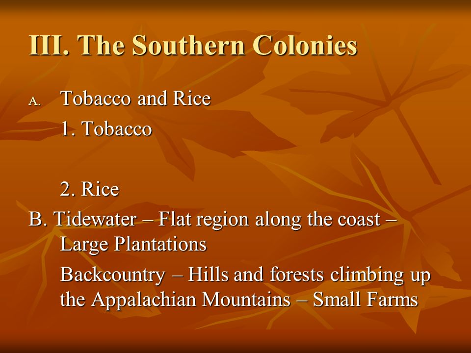III. The Southern Colonies