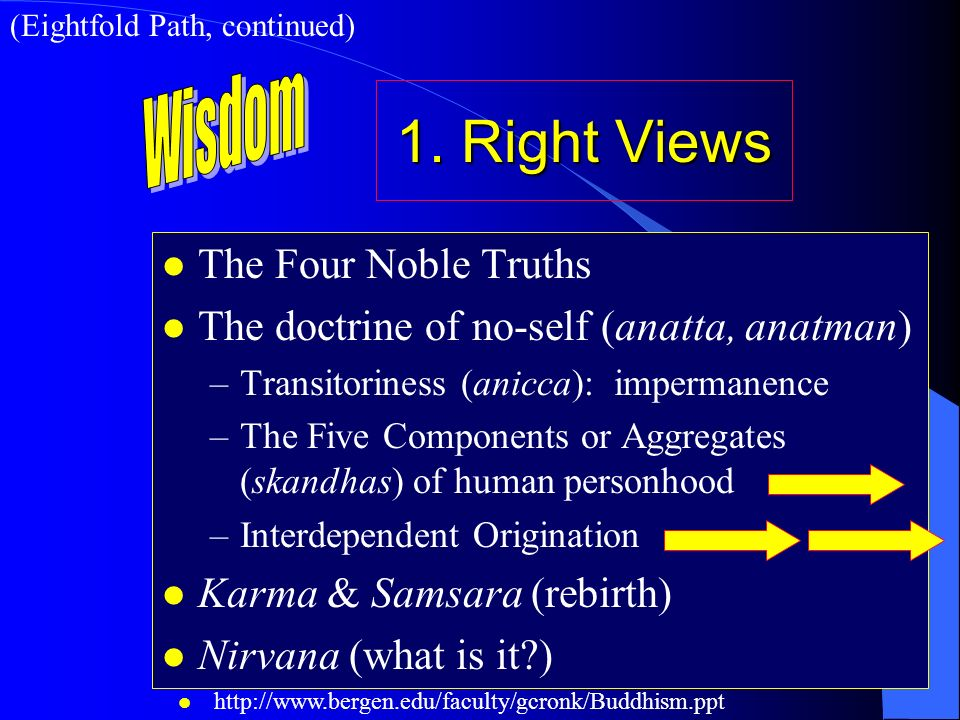 1. Right Views Wisdom The Four Noble Truths