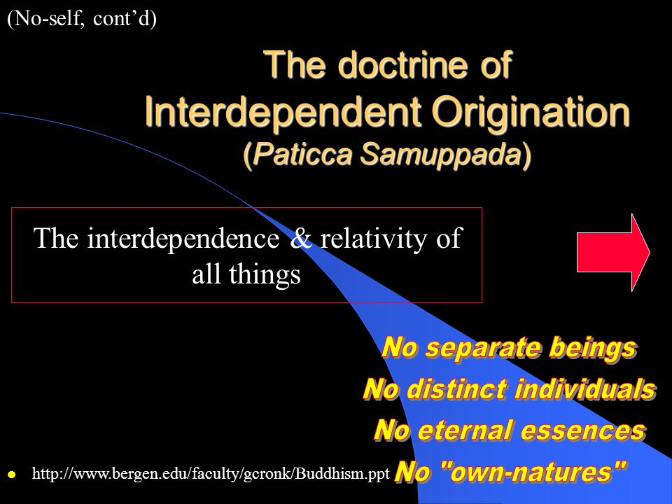 The doctrine of Interdependent Origination (Paticca Samuppada)
