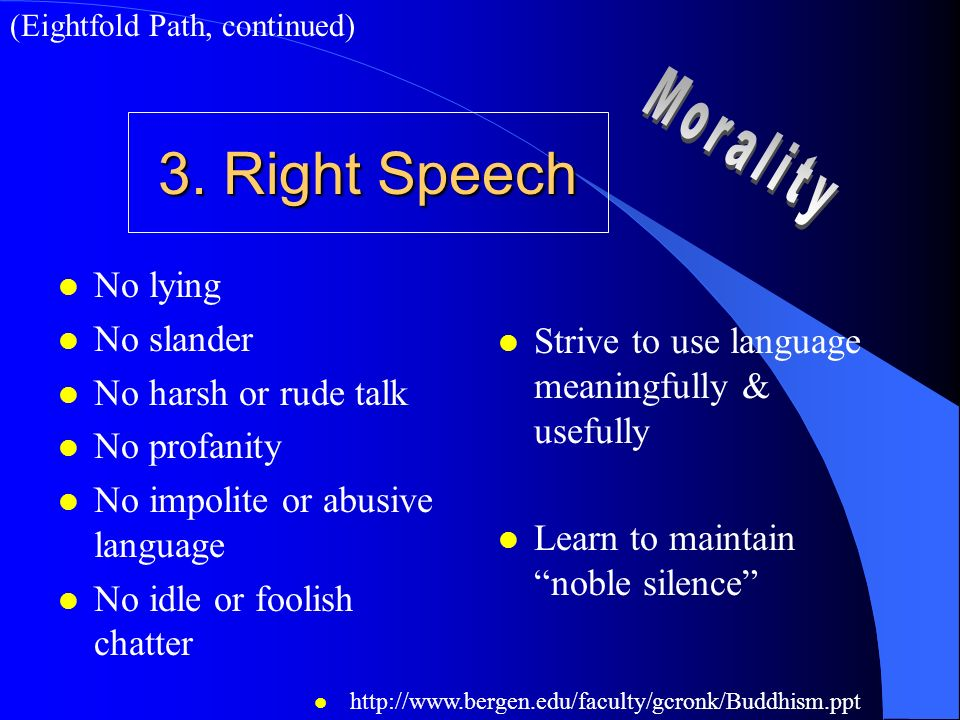 3. Right Speech Morality No lying No slander No harsh or rude talk