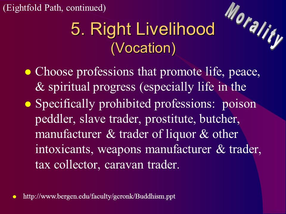 5. Right Livelihood (Vocation)