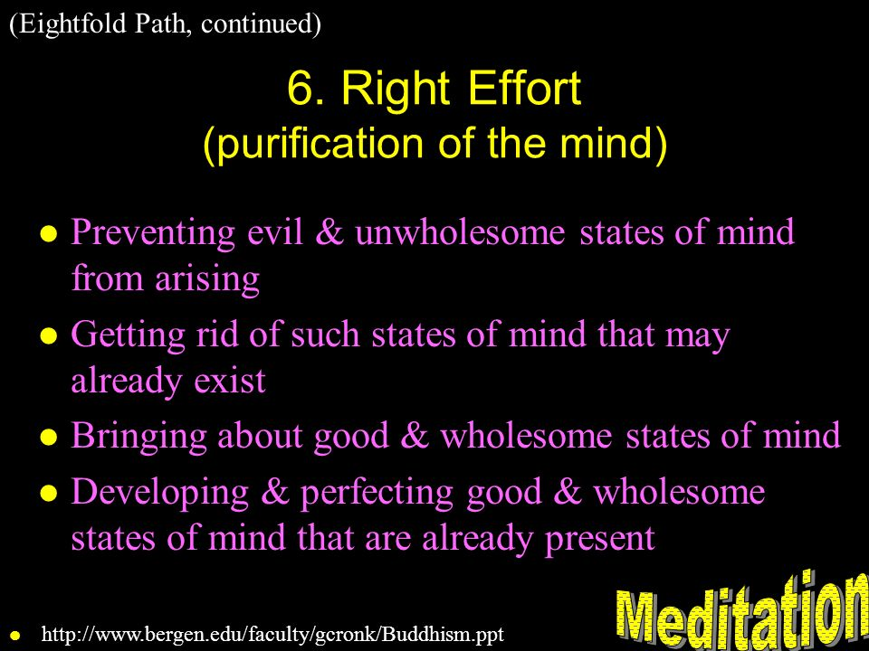 6. Right Effort (purification of the mind)