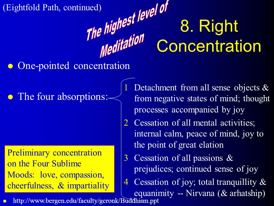 8. Right Concentration The highest level of Meditation