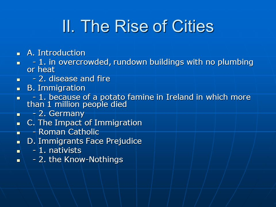 II. The Rise of Cities A. Introduction