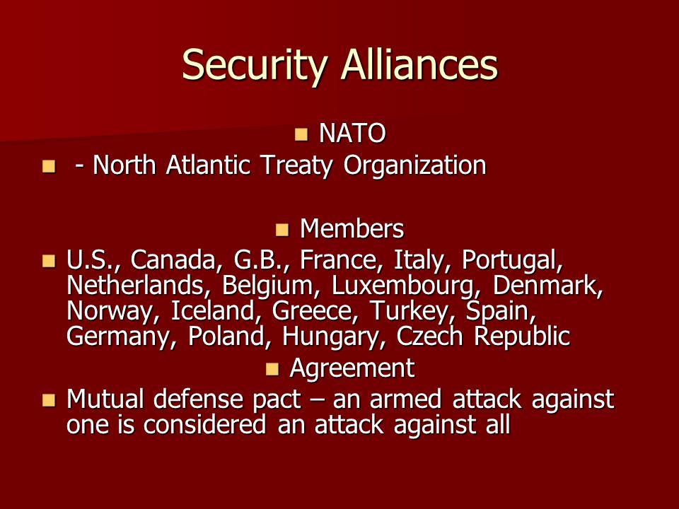 Security Alliances NATO - North Atlantic Treaty Organization Members