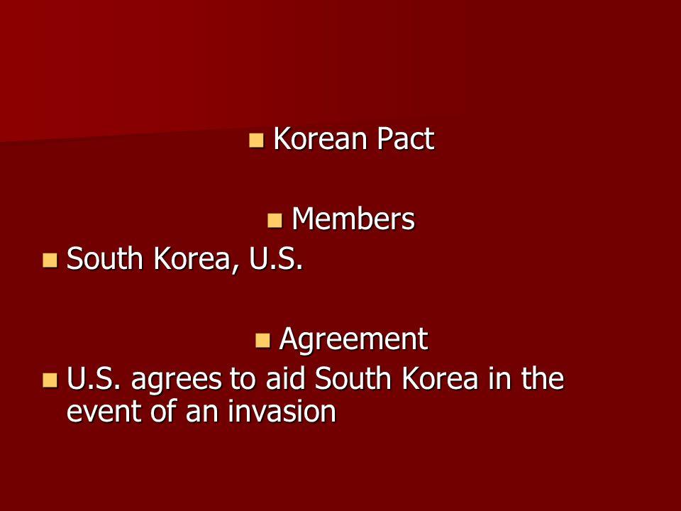 Korean Pact Members. South Korea, U.S. Agreement.