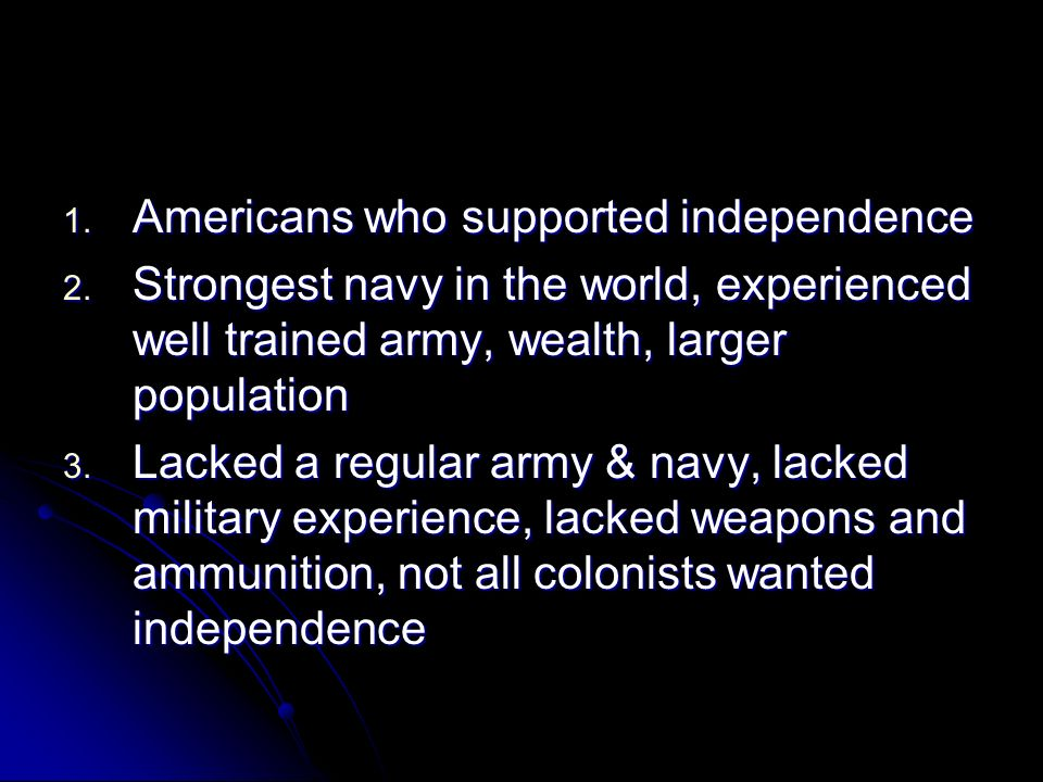 Americans who supported independence