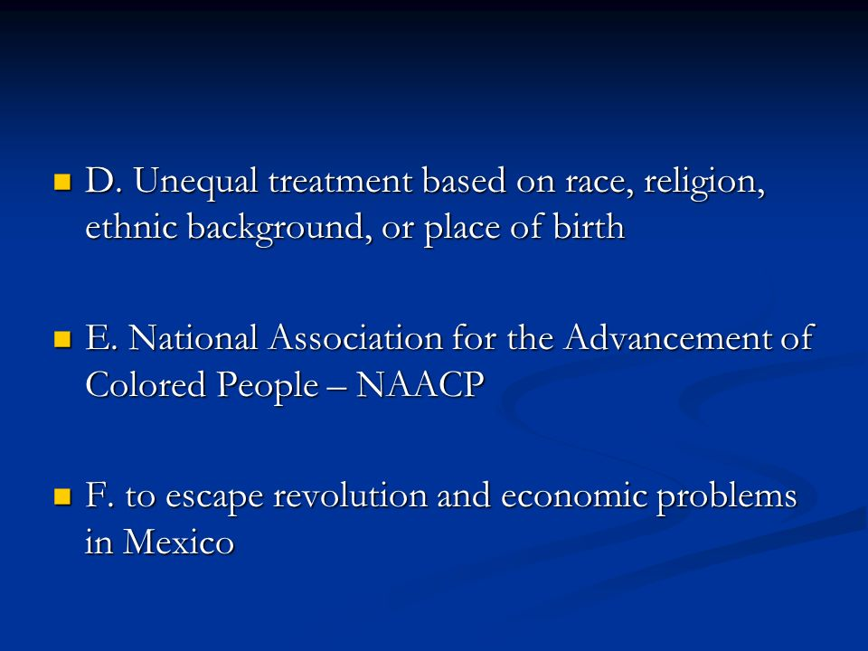 D. Unequal treatment based on race, religion, ethnic background, or place of birth