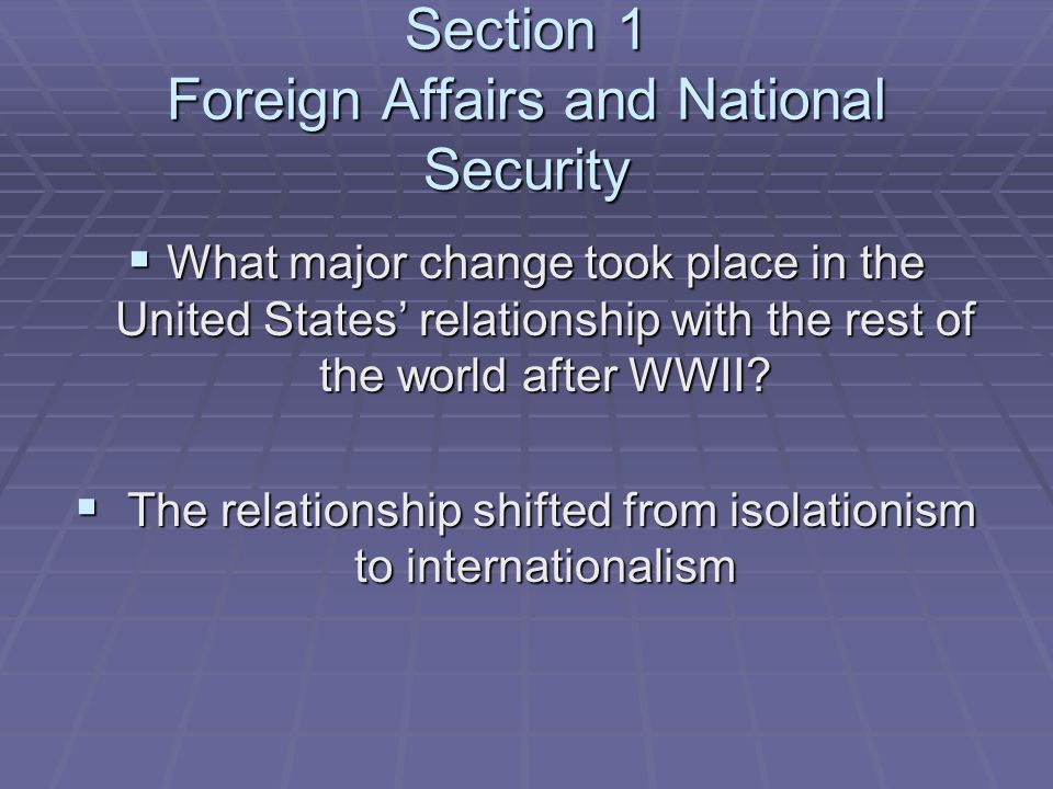 Section 1 Foreign Affairs and National Security
