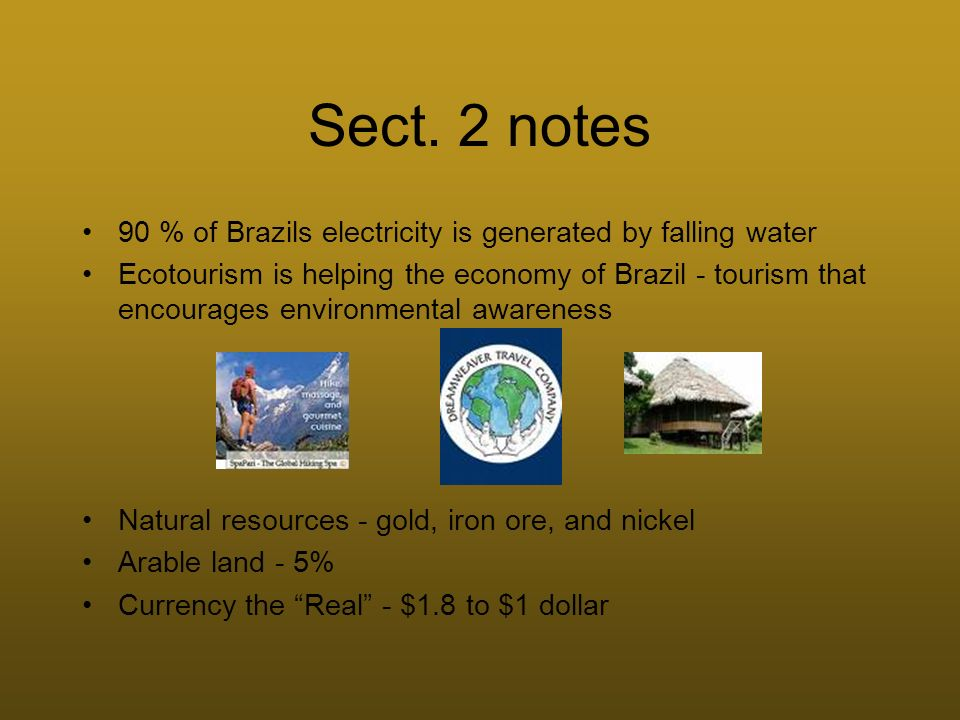 Sect. 2 notes 90 % of Brazils electricity is generated by falling water.