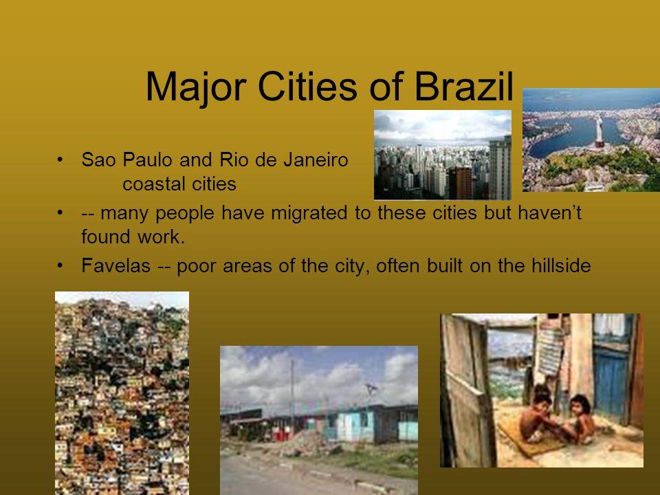 Major Cities of Brazil Sao Paulo and Rio de Janeiro coastal cities