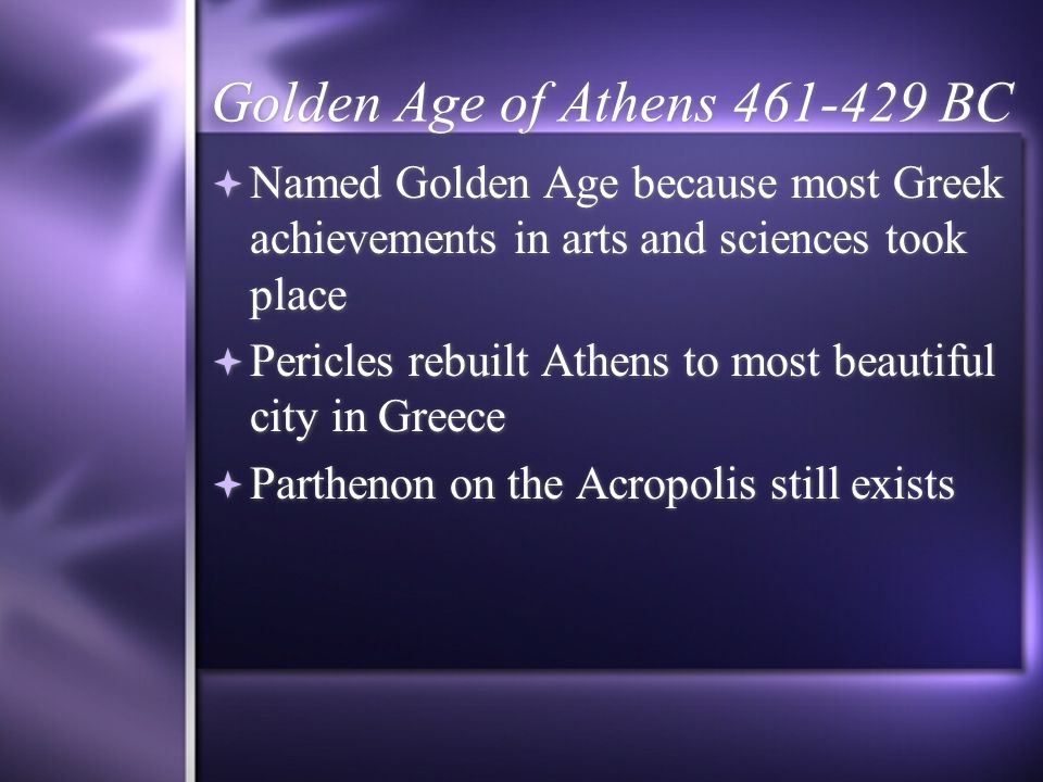Golden Age of Athens 461-429 BC