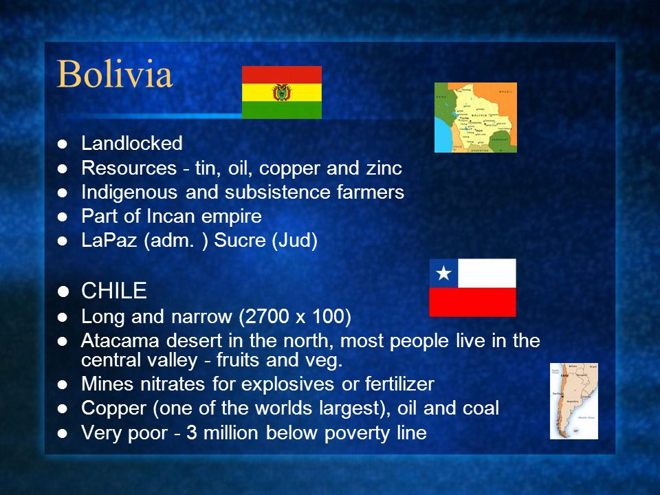 Bolivia CHILE Landlocked Resources - tin, oil, copper and zinc