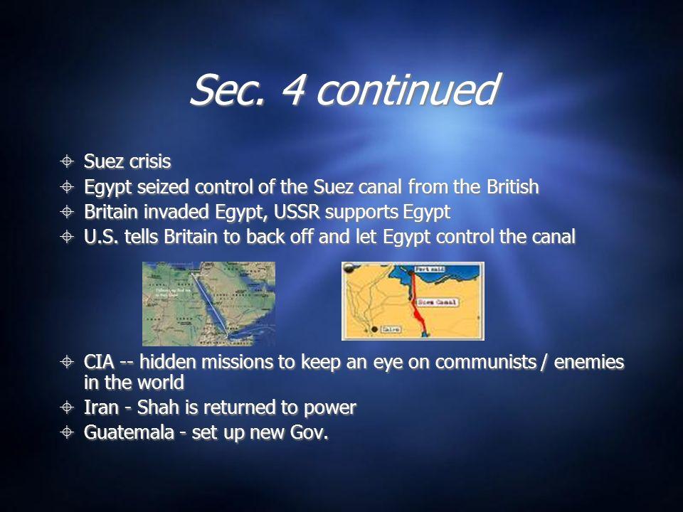 Sec. 4 continued Suez crisis