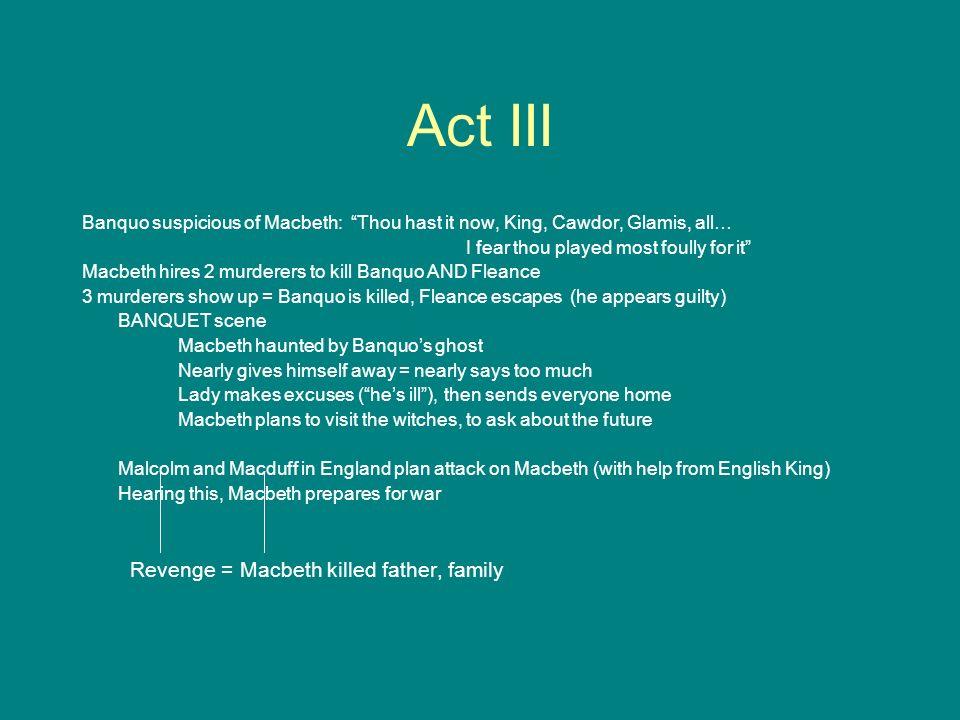 Act III Revenge = Macbeth killed father, family