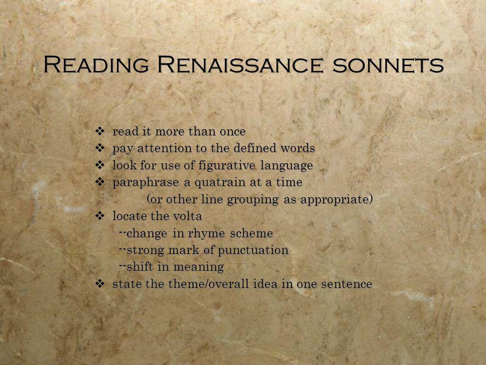 Reading Renaissance sonnets