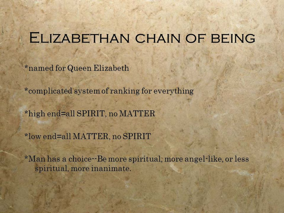 Elizabethan chain of being