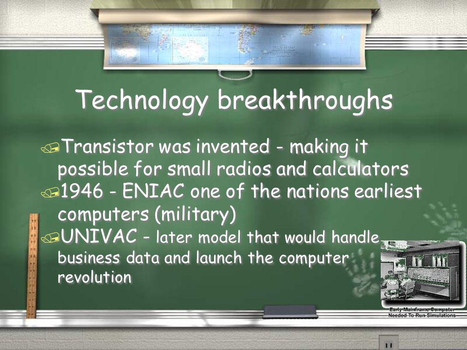 Technology breakthroughs