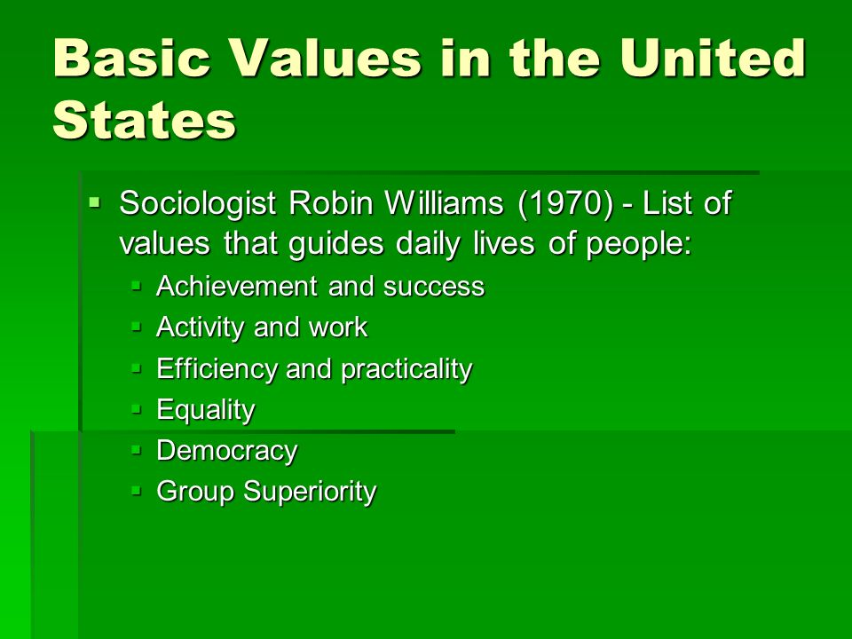 Basic Values in the United States