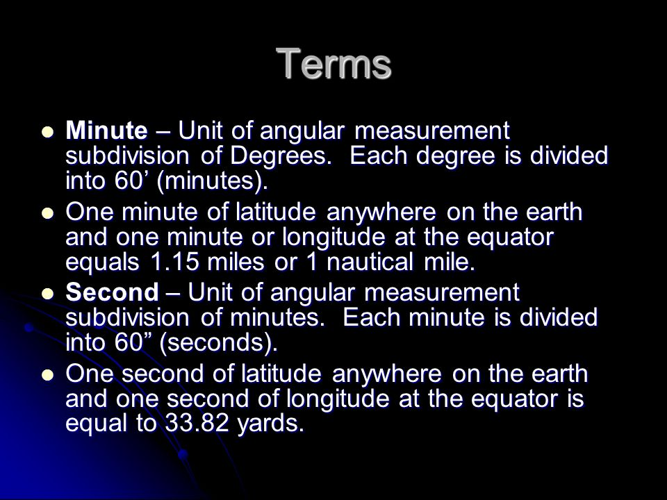 Terms Minute – Unit of angular measurement subdivision of Degrees. Each degree is divided into 60' (minutes).