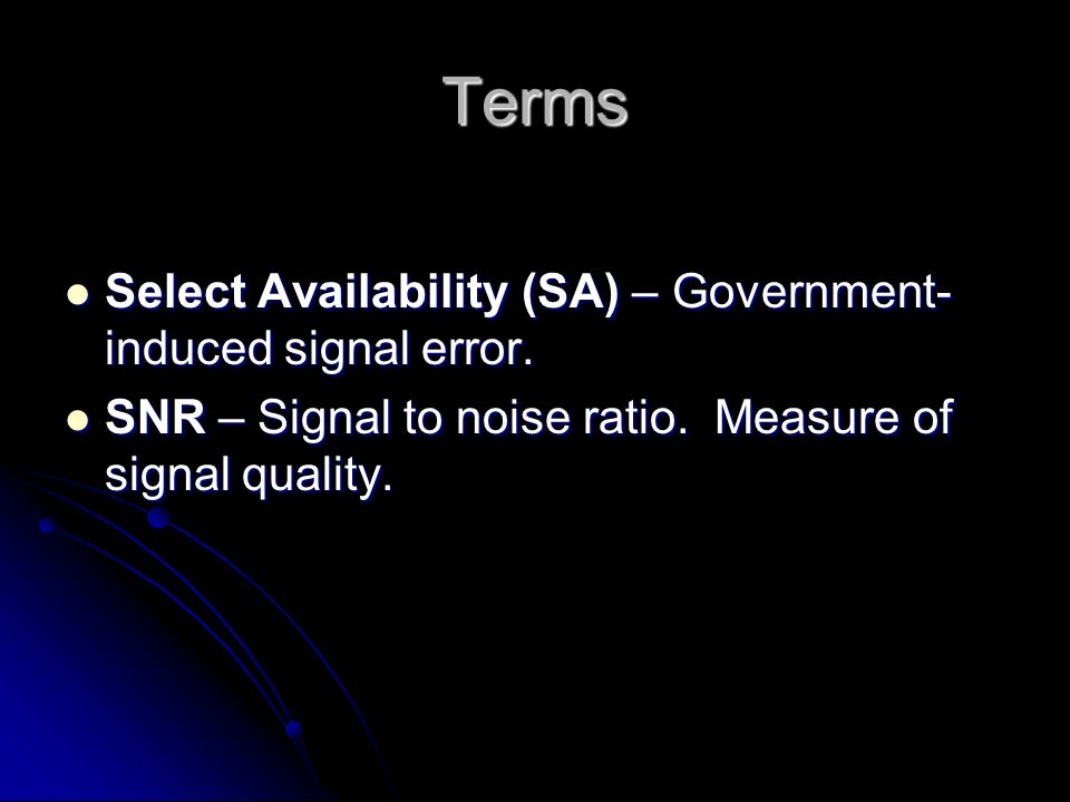 Terms Select Availability (SA) – Government-induced signal error.