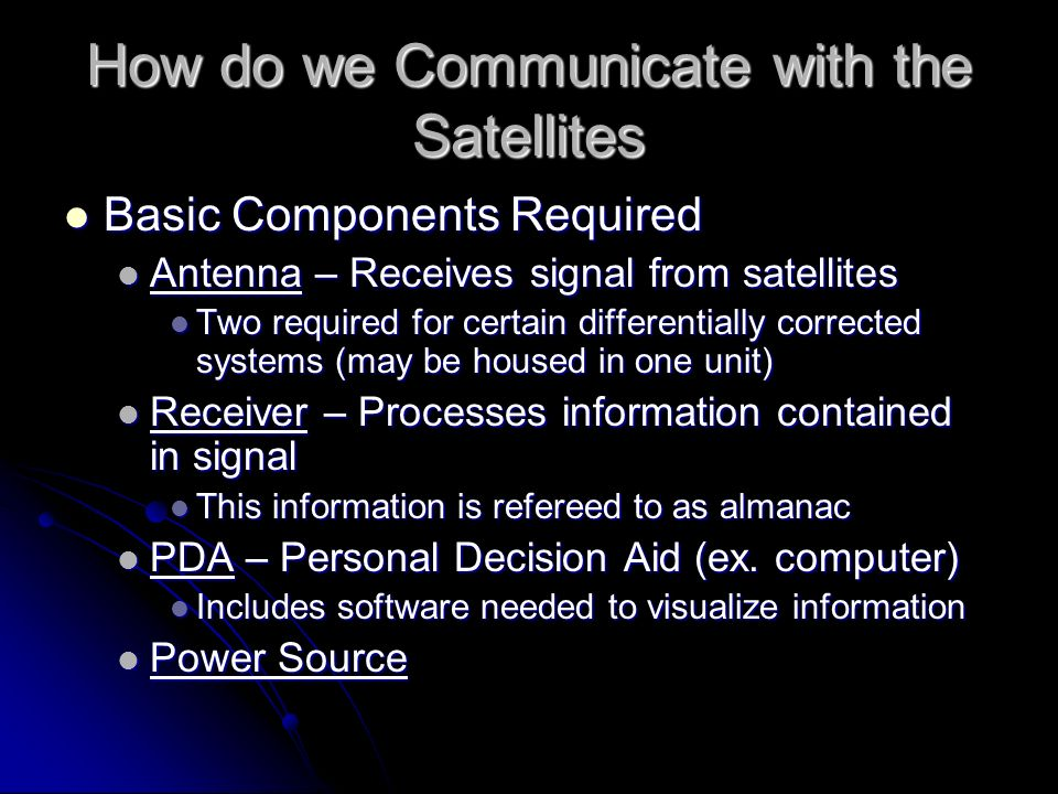How do we Communicate with the Satellites