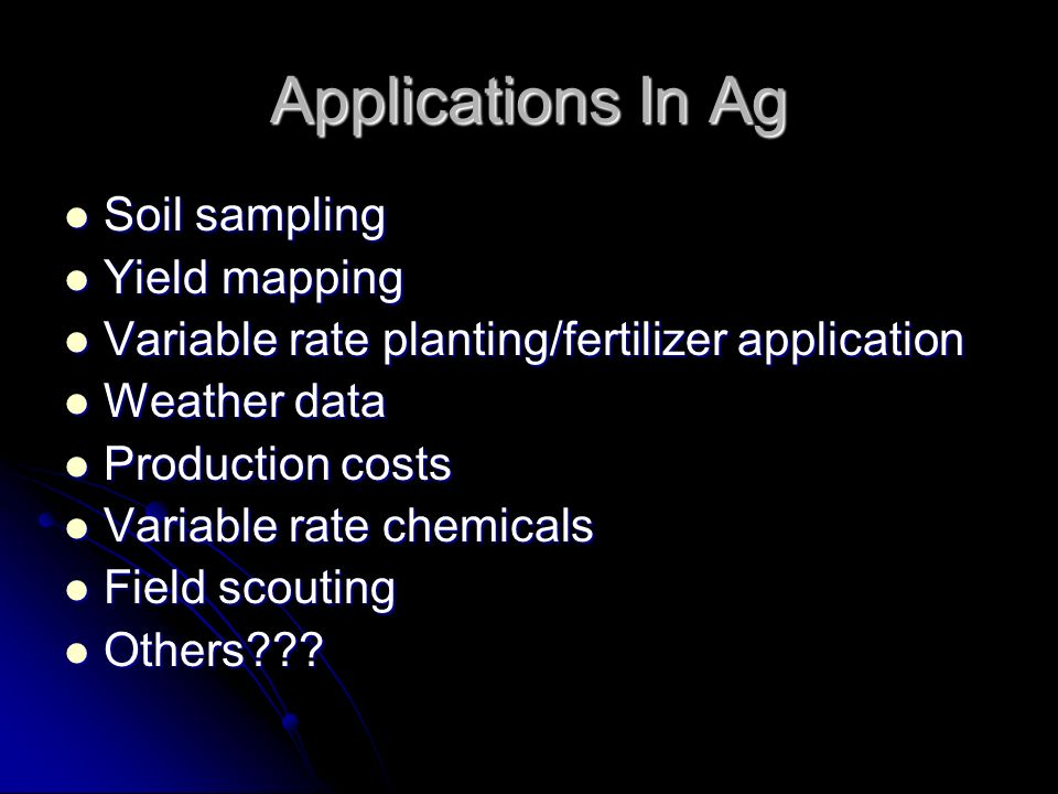 Applications In Ag Soil sampling Yield mapping
