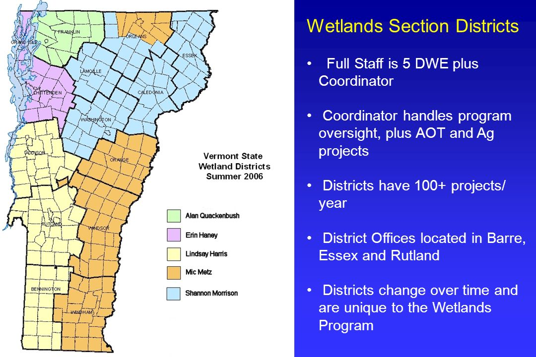 Wetlands Section Districts