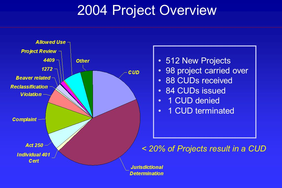 2004 Project Overview 512 New Projects 98 project carried over