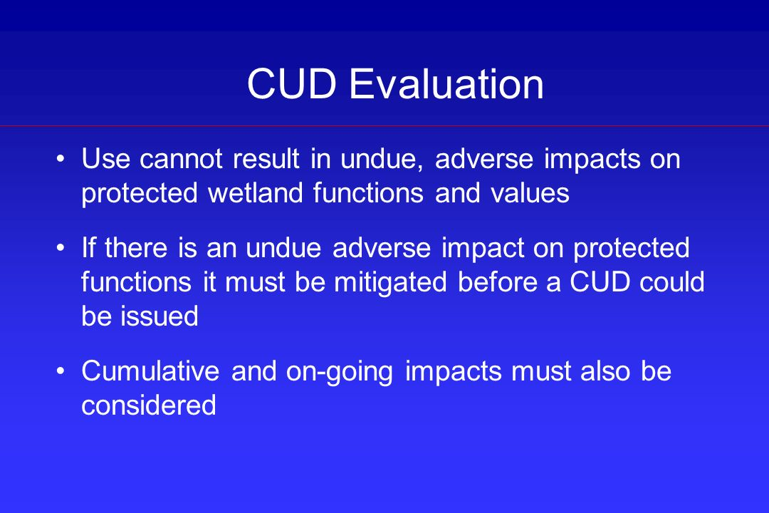 CUD Evaluation Use cannot result in undue, adverse impacts on protected wetland functions and values.
