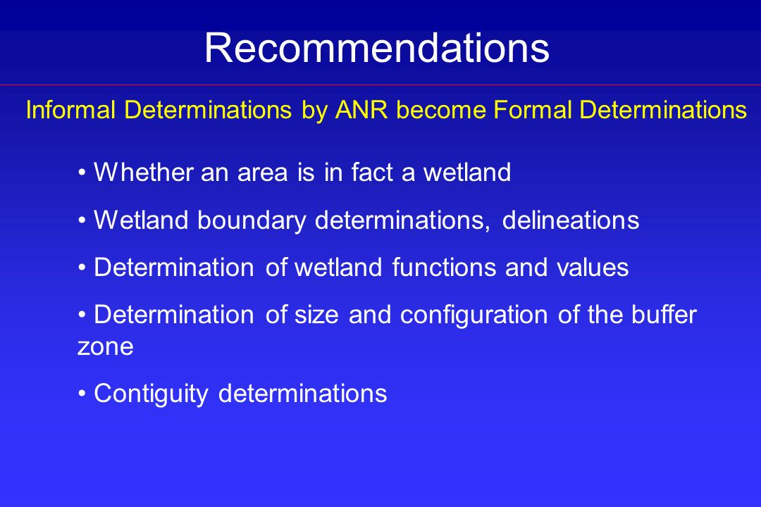 Informal Determinations by ANR become Formal Determinations