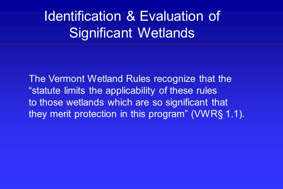Identification & Evaluation of Significant Wetlands