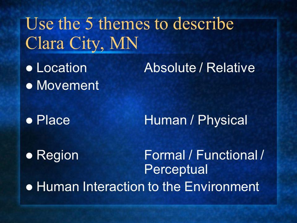 Use the 5 themes to describe Clara City, MN