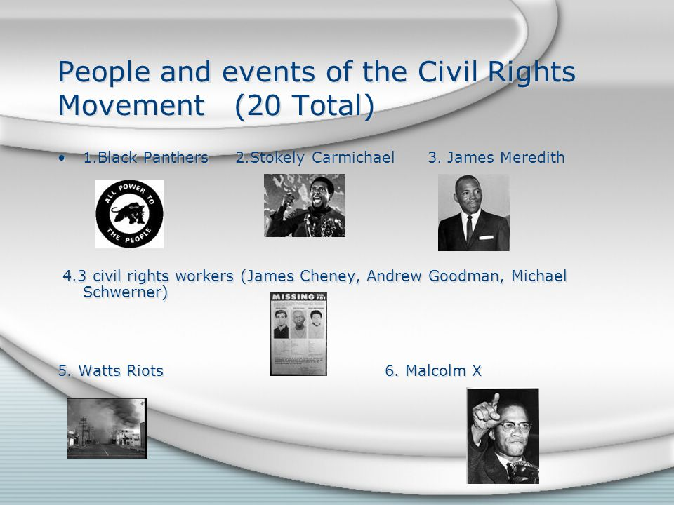 People and events of the Civil Rights Movement (20 Total)