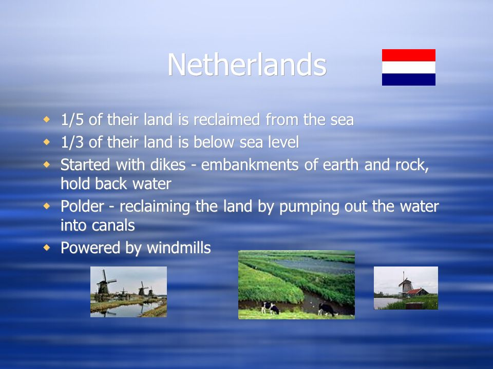 Netherlands 1/5 of their land is reclaimed from the sea
