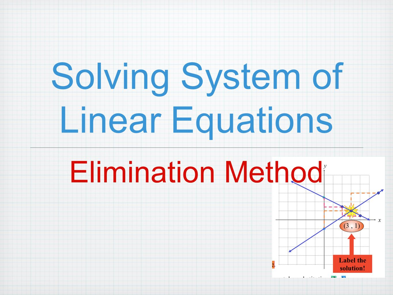solving systems of linear equations This is referred to as a system of equations below is an example with a system of equations, the task is still to find values of x and y that will work, but now those values of x and y have to make both equations true.