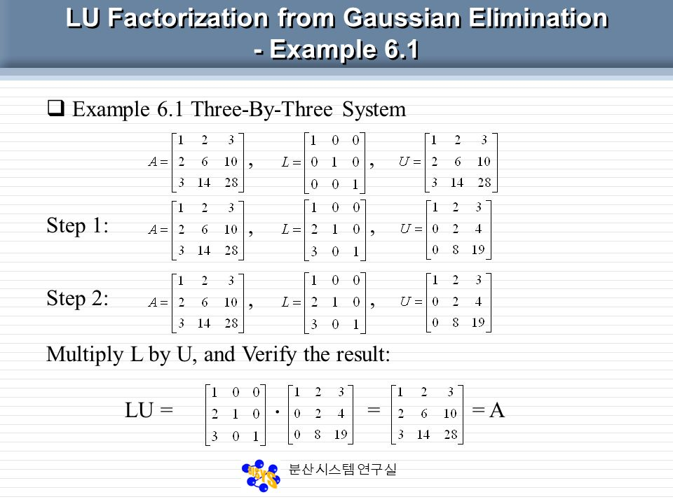 6. LU Factorization Kim Hong Soo Kim Jin Soo - ppt video online download