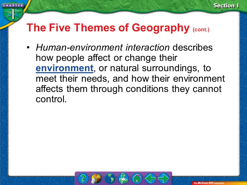 The Five Themes of Geography (cont.)