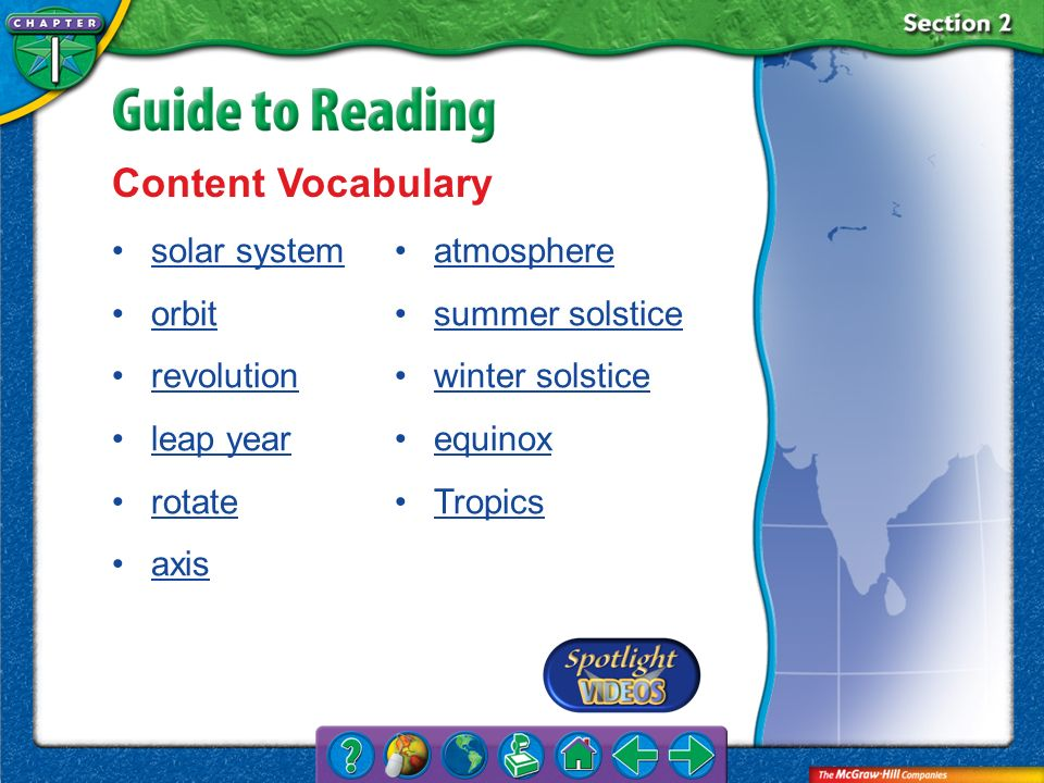 Content Vocabulary solar system orbit revolution leap year rotate axis