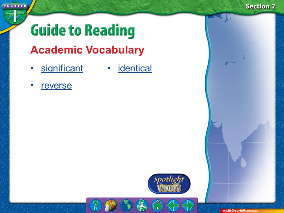 Academic Vocabulary significant reverse identical Section 2-Key Terms